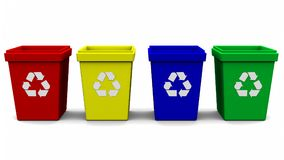 Recycle bin logo four color 3d rendering. On white background Royalty Free Stock Image