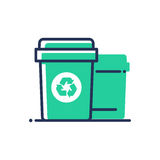 Recycle bin - modern vector single line icon. An image of a trash plastic container with a recycling logo. Representation of smart behavior, today, clean Royalty Free Stock Images