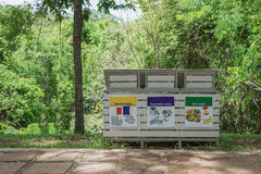 The recycle bin in the national park Royalty Free Stock Photography
