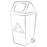 Recycle Bin. Outline of garbage can or recycle bin on white background Royalty Free Stock Photography