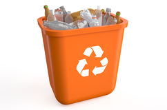 Recycle bin with plastic bottles Stock Image