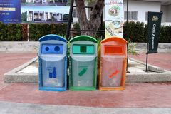 Recycle bin in public area in Thailand. stock photography