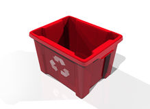 Recycle bin red. Recycle bin in solid white background royalty free illustration