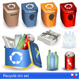 Recycle bin set. Illustration of recycle bin icons set Stock Photography