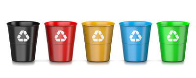 Recycle Bin Set. Set of Plastic Colorful Recycle Bin with Recycle Sign Isolated on White Background 3D Illustration Royalty Free Stock Images