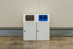 Recycle bin at shopping plaza in Japan. Stock Image