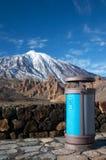 Recycle bin at Teide volcano. Teide volcano Royalty Free Stock Photos
