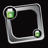Recycle bin on tilted silver halftone web icon. Tilted silver halftone web button with recycle bins Stock Photos