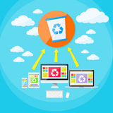 Recycle Bin Trash Bucket Laptop Phone and Tablet Stock Image