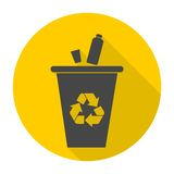 Recycle Bin for Trash and Garbage icon with long shadow Stock Photography