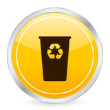 Recycle bin yellow circle icon Stock Image