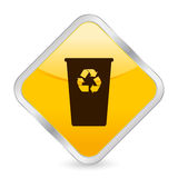 Recycle bin yellow square icon Stock Photo