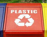 Recycle bins. For plastic bottles, aluminium cans and waste paper Stock Photography