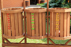 Recycle Bins. Recycling Bins in Costa Rica Royalty Free Stock Photos