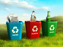 Recycle bins. Colored trash bins used to recycle paper, plastic and glass. Digital illustration Royalty Free Stock Photos