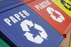 Recycle bins. For plastic bottles, aluminium cans and waste paper Stock Photo