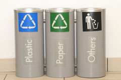 Recycle bins. For plastic,paper and others Royalty Free Stock Photography