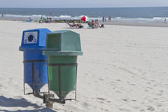 Recycle Bins On a Clean Beach Stock Image