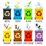 Recycle bins with different types of waste Stock Image