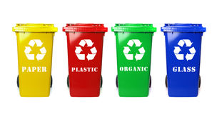Recycle bins. Four colorful recycle bins on white Stock Photo