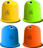 Recycle bins. In four colors for glass, plastic, metal and paper Royalty Free Stock Images