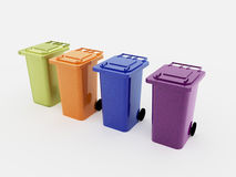 Recycle bins four  Stock Photos