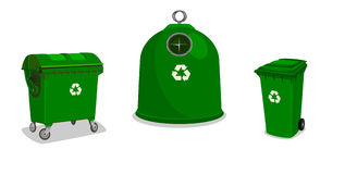 Recycle bins in green Stock Photography