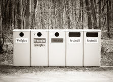 Recycle bins in nature Royalty Free Stock Photo