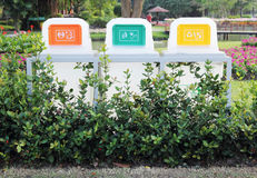 Recycle Bins In The Park Royalty Free Stock Photos