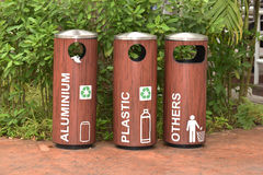 Recycle Bins At A Park Royalty Free Stock Images