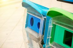 Recycle Bins In The Park.Recycling bins in the public park. royalty free stock image