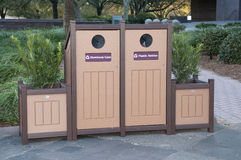 Recycle Bins with Planters Stock Images