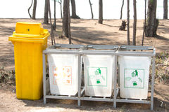 Recycle bins at public park Royalty Free Stock Photo