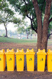 Recycle bins in public park Stock Photos