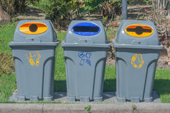 Recycle bins in public park,. Thailand Royalty Free Stock Images