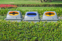 Recycle bins in public park,. Thailand Royalty Free Stock Image