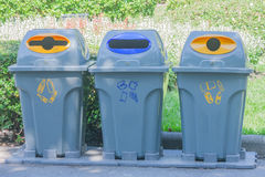 Recycle bins in public park,. Thailand Stock Photography