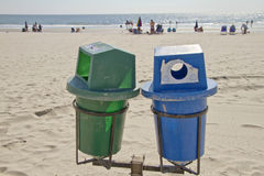 Recycle Bins By the Sea Royalty Free Stock Images