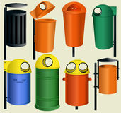 Recycle bins. Set of plastic recycle bins Stock Photo