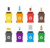 Recycle Bins Set. Vector. Colorful Recycle Bins Set with Examples for the Separation and Utilize of Garbage. Saving Of The Environment Vector illustration Royalty Free Stock Photography