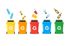 Recycle Bins Set. Vector. Colorful Recycle Bins Set Row with Examples for the Separation and Utilize of Garbage. Saving Of The Environment Vector illustration Royalty Free Stock Photography