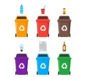 Recycle Bins Set. Vector. Colorful Recycle Six Bins Set with Examples for the Separation and Utilize of Garbage. Saving Of The Environment Vector illustration Stock Photography