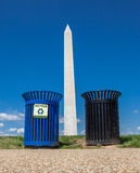 Recycle bins and Washington monument background Stock Photo