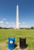 Recycle bins with the Washington monument. 2 Recycle bins with the Washington monument in National mall, Washington, DC Royalty Free Stock Photography