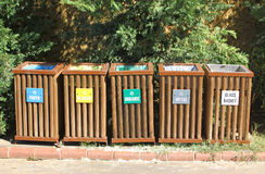 Recycle bins for waste segregation Royalty Free Stock Photos