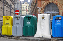 Recycle bins for waste segregation. Five recycle bins for waste segregation in Budapest, Hungary Royalty Free Stock Photo