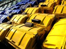 Recycle Bins, Yellow, Blue and Green Royalty Free Stock Images