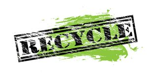 Recycle black and green stamp on white background. Recycle black and green  stamp Stock Photography