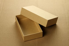 Recycle Blank Card Board Box for Mockup on Corrugated Background Stock Photos
