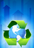 Recycle on Blue Arrow Background Stock Photos